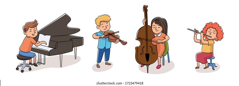 Children orchestra musician set isolated on white background. Violinist, pianist, pipe and double-bass player. Kid playing classic musical instrument. Ensemble music performance. Pupils hobby. Vector