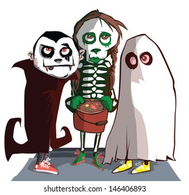 Children out trick or treating at Halloween.