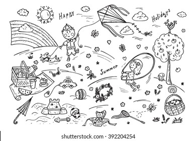 Children Outdoor Activities. Summer Camp or holidays. Summer vacation. Happy children playing in the Park. Kids at the picnic. Hand drawn doodle Childhood set. Background for kids