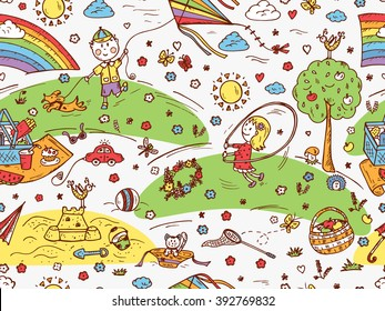 Children Outdoor Activities. Summer Camp or holidays. Summer vacation. Happy children playing in the Park. Kids at the picnic. Hand drawn doodle Childhood Seamless Pattern. Background for kids