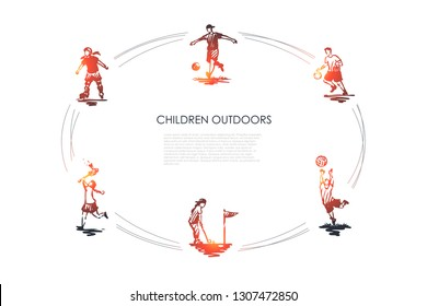 Children outdoors - children playing football, soccer, golf, badminton and roller-skating vector concept set. Hand drawn sketch isolated illustration