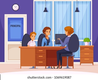 Children parents parenthood cartoon composition with headmaster office interior and human character of mother and child vector illustration