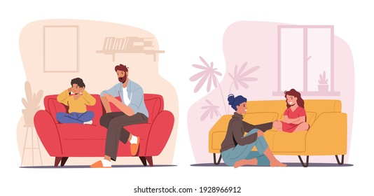 Children and Parents Talking Concept. Father and Mother Characters Talk to Son or Daughter. Dad Scold Boy, Mom Share Secrets with Girl. Family Relations, Parenting. Cartoon People Vector Illustration