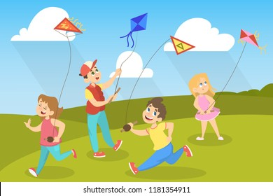 Children in the park playing with colorful kite. Happy cute kids having fun with flying in the air kite. Vector illustration in cartoon style.
