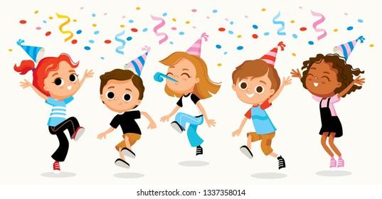 Children party kids fooling around. Birthday bashment. 1 june, children day. Name day. Anniversary.