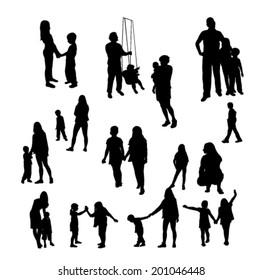 Children and people silhouettes - vector