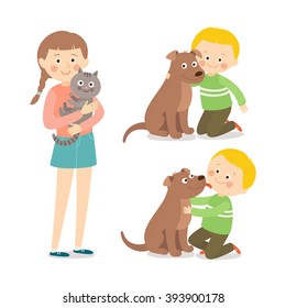 Children and pets. Child lovingly embraces his pet dog. Little dog licking boy's cheek. Teenage girl with her cat. Best friends. Cartoon vector clip art illustration on white background.