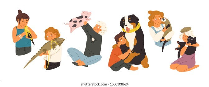 Children with pets flat vector illustrations set. Happy domestic animals owners cartoon characters pack. Kids playing with different home pets. Mountain dog, mini pig, cute budgerigar and ferret.