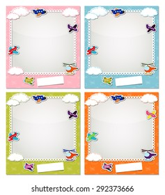 Children photo frames with the aircraft and clouds