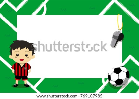 Children Photo Frames Football Player Stock Vector (Royalty Free ...