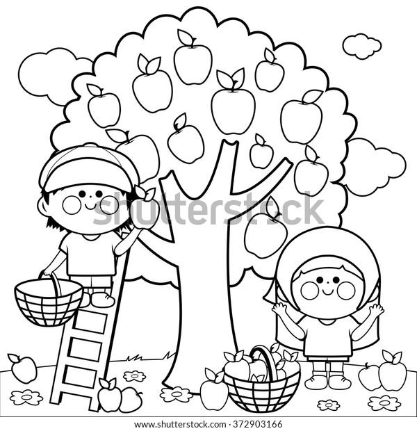 Children Picking Apples Under Apple Tree Stock Vector Royalty Free 372903166