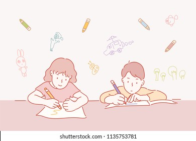 Children with pictures on paper. hand drawn style vector design illustrations.