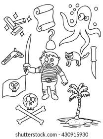 Children pirate doodle vector art