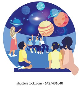 Children in Planetarium Study Planet. Space Exhibition. Compositions Exhibition Center. Visit Exhibition. Modern Art. Art Gallery. Vector Illustration. Children Sit on Floor. Space Location Exhibition
