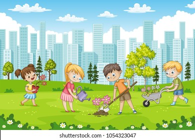 Children are planting flowers in a park
