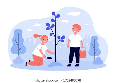 Children planting tree in spring. Kids working in garden. Vector illustration for environment protection, nature care, volunteering, education concepts