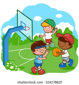 Children play basketball