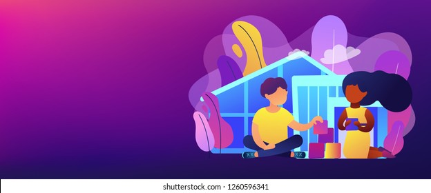 Children play in center giving information about treatment of ASD. Autism center, treatment of autism spectrum disorder, kids autism help concept. Header or footer banner template with copy space.