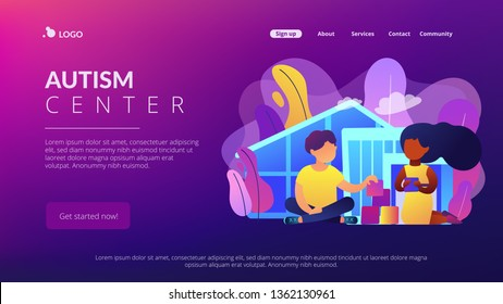 Children play in center giving information about treatment of ASD. Autism center, treatment of autism spectrum disorder, kids autism help concept. Website vibrant violet landing web page template.