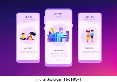 Children play in center giving information about treatment of ASD. Autism center, treatment of autism spectrum disorder, kids autism help concept. Mobile UI UX GUI template, app interface wireframe
