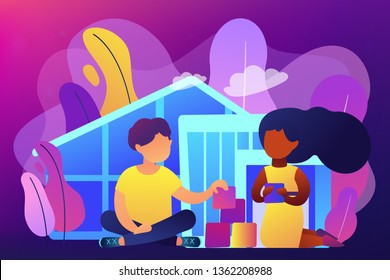 Children play in center giving information about treatment of ASD. Autism center, treatment of autism spectrum disorder, kids autism help concept. Bright vibrant violet vector isolated illustration