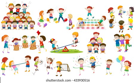Children play different kind of game illustration