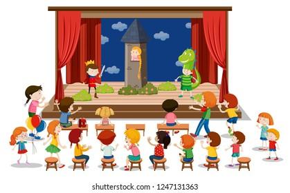 Children play drama on stage illustration