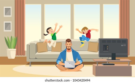 Children play and jump on sofa behind working business father. Work life balance concept with fun cartoon characters. Vector illuctration of parent and children at living room modern interior.