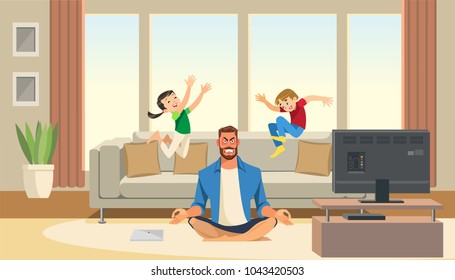 Children play and jump on sofa behind angry and stressed meditation father. Home relax concept with fun cartoon characters. Vector illuctration of parent and children at living room modern interior.