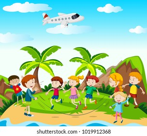 Children play jumprope in the park illustration