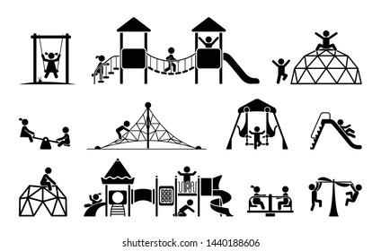 Children play on playground. Kid playground equipment icons. Childhood pictogram icon set.