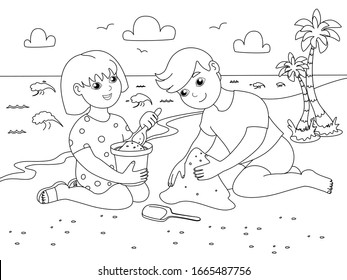 Children play on the sand beach. Holidays at sea. Children coloring. Black lines, white background. Cartoon vector illustration