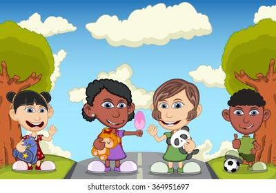 Children play on the street cartoon vector illustration