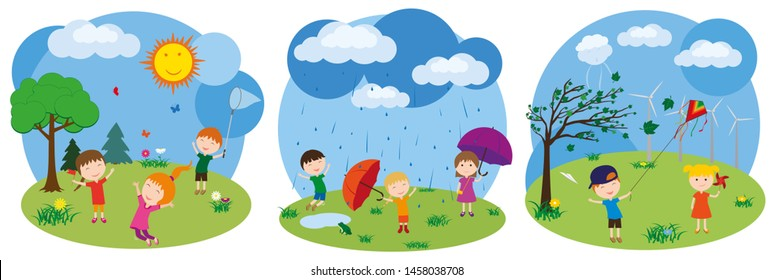 Children play outdoors. Weather. Sunny, rainy, windy. Little girls and boys have fun playing in the rain. Boy launches a kite. Girl is holding a pinwheel.
