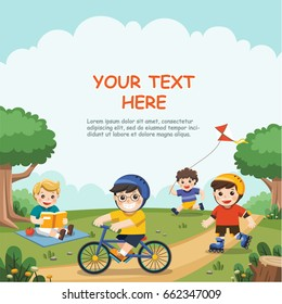 Children play outside. Cute boys read a book, ride a bicycle, play roller skate in the park.