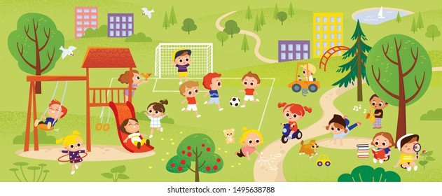 Children play in the park. Kids summer activities outdoors. Green colorful city background.