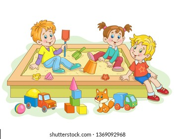 Children play in the sandbox. Lots of toys around. In cartoon style.On white background.