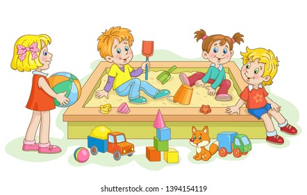 Children play in the sandbox. Lots of toys around. In cartoon style.On white background. Vector illustration.