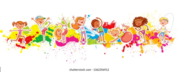 Children play sports on a background of colorful splashes. Children's panorama for your design. Template for advertising brochure or web site. Funny cartoon character. Vector illustration