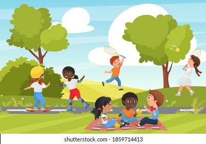 Children play in summer park vector illustration. Cartoon group of little kids playing badminton, happy child skating and skateboarding in playground of recreation park or garden landscape background