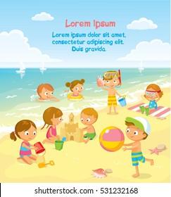 Children play and swim at the beach