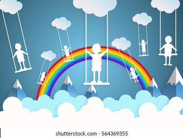 Children play swings on sky,paper cut