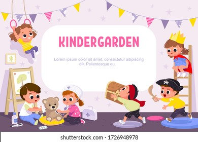 Children play together in kinder garden. Kids doing pirates role play. Preschool kids have fun. Children doctors examining teddy bear with stethoscope. Vector illustration.