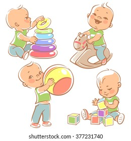 Children play with toys. Little baby boy riding a wooden horse.  Kid with pyramid, boy holding a ball. Baby builds house of cubes. Toys and games for one year old kid. Colorful vector illustration.