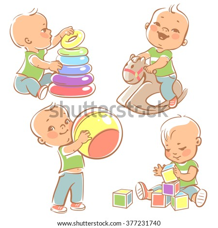 Children Play Toys Little Baby Boy Stock Vector Royalty Free