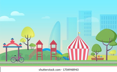 Children playground in big city cartoon flat landscape background vector illustration. Colorful attractions, striped tent, trees, playful slides, sandbox with tiny baskets, skyscrapers in mist