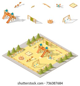 Children playground isometric icon set vector graphic illustration