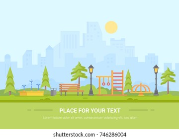 Children playground - modern vector illustration with place for text. Urban landscape with skyscrapers on the background. Recreation zone with fountain, bench, horizontal bar, merry-go-round, bin