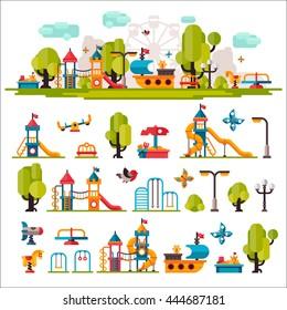 Children playground. Swings, sandpit, sandbox, bench, tree, slide. Kids playground flat stock illustration with isolated elements on white background.