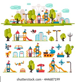 Children playground. Swings, sandpit, sandbox, bench, tree, slide. Kids playground flat stock illustration with isolated elements on white background.
